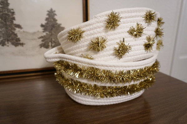 DIY Tinsel Storage Baskets
