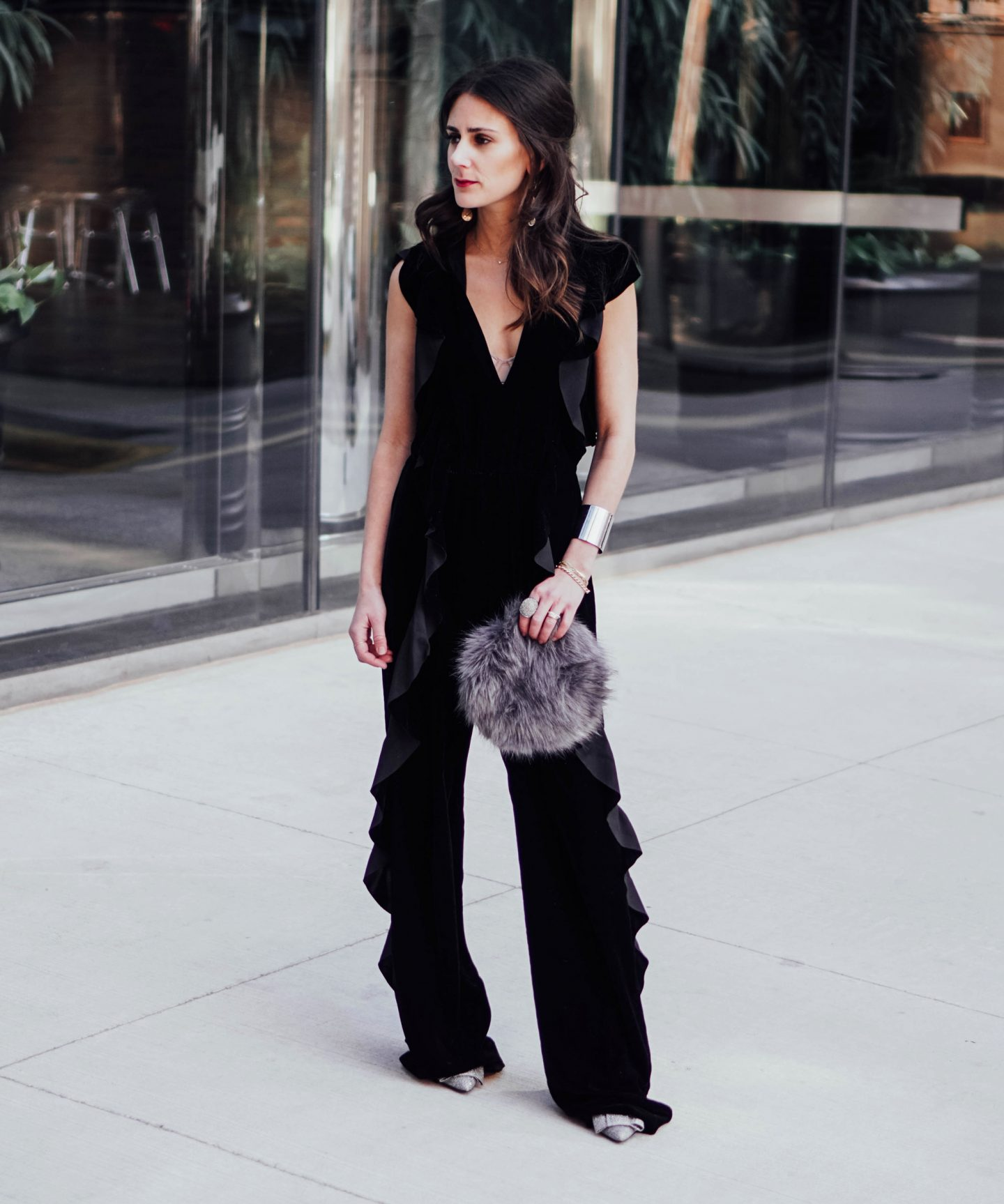 My Favorite picks from the Zara, like this Valentine's Day-ready, date-night perfect black velvet ruffled jumpsuit, are on TheDandyLiar.com.