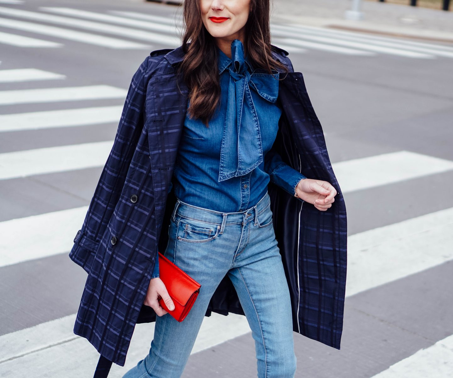 I'm over on TheDandyLiar.com talking about denim. I'm loving this new pair I bought from Banana Republic that has a frayed hem and fits in all the right places. I also paired it with a denim bow tie top and navy plaid trench coat.
