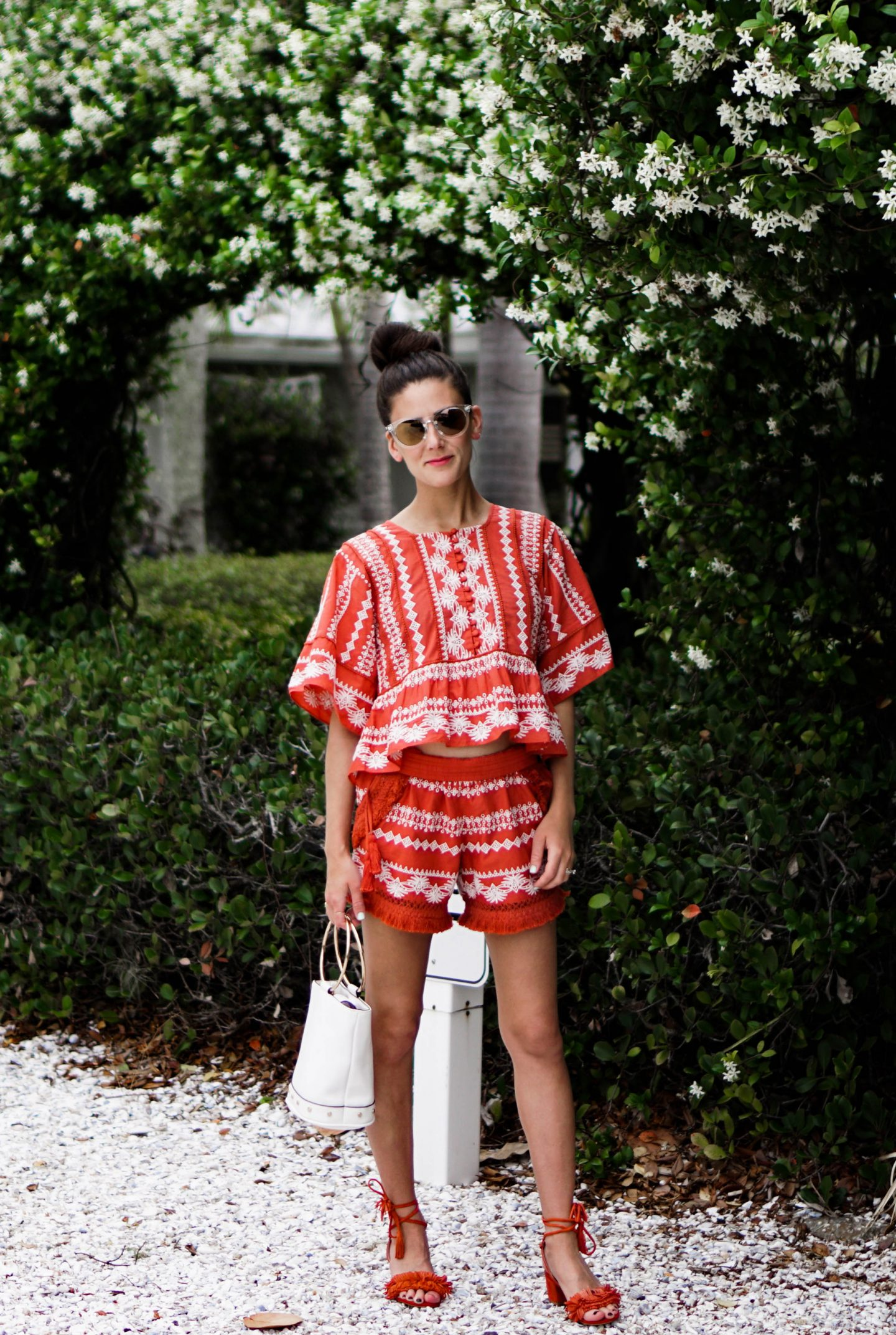I'm exploring Anna Maria island in the prettiest matching separates (my idea of the perfect beach outfit) from Orchard Mile over on thedandyliarcom.