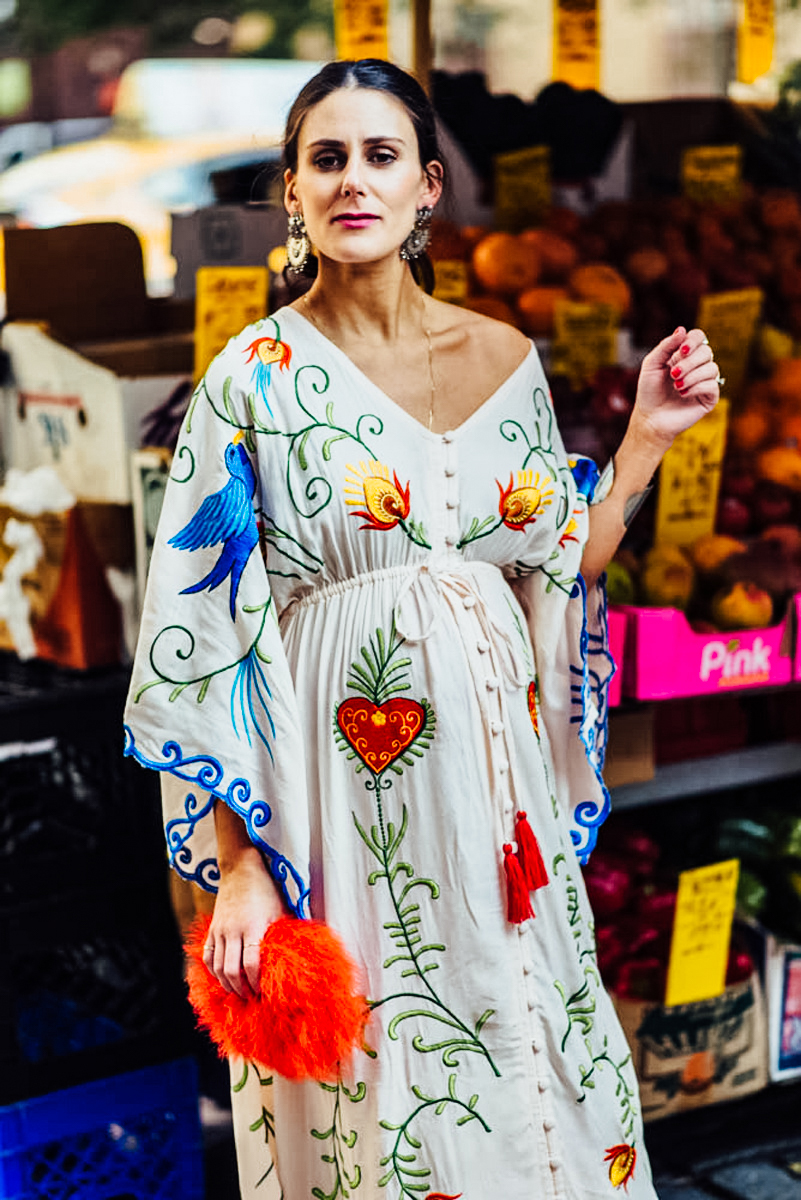 I'm sharing my 30 week bump update on TheDandyLiar.com, featuring this gorgeous Fillyboo embroidered gown that I wore during New York Fashion Week.